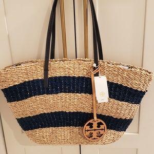 f18558063 Tory Burch Striped Straw Beach Bag Brand New!